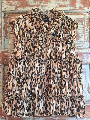 (St John Knit SILK Vest Animal Print Zip GORGEOUS SZ L/14 PERFECT For FALL)