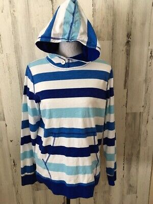 LANDS END Womens XL Blue White Stripe Cotton Funnel Pocket Hooded Knit Top EUC -