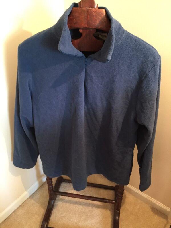 EDDIE BAUER Part Zip Lightweight Blue Pullover Plush Fleece Jacket_Men's L Tall