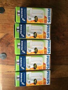 5 x New Philips Genie 8W/40W Energy Saver Light Bulbs Bayonet Cap