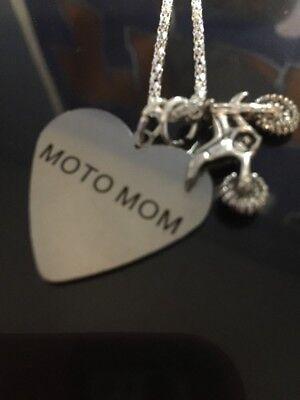Moto Mom Silver Charm Necklace Motocross