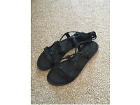 Asos leather lace up sandals size 6