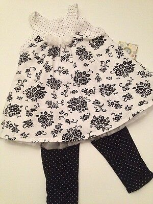 Little Me Baby Girl Dress Leggings Outfit Set Size 18 24 Months Black Floral Dot