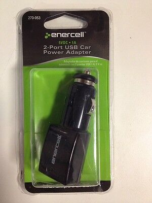 Enercell 5VDC 1A 2 Port USB Car Power Adapter (270-053)