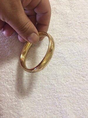 Vintage Gold Filled Gold Tone Hinged Bangle Bracelet Engraved Flowers
