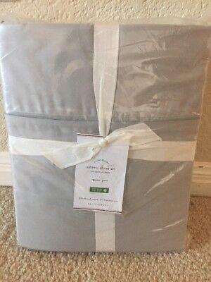 Organic Cotton Sateen Pillow Cases - NEW 4pc Pottery Barn Queen Organic Cotton 350-TC Sateen Sheet Set GRAY MIST $149