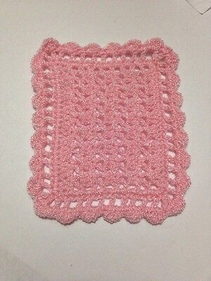 FLASH SALE!  CROCHETED MINIATURE DOLLHOUSE  BLANKET Pink Sparkle