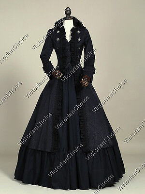 Black Victorian Military Game of Thrones Winter Gown Steampunk Clothing 176 XXL