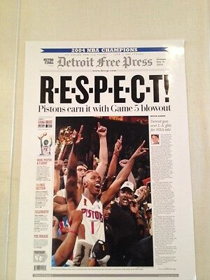 Detroit Free Press Newspaper June 16 2004 Poster Pistons Respect