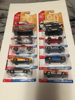 2018 Hot Wheels 50th Throwback Set Of 10 Challenging The Limits Since 1968