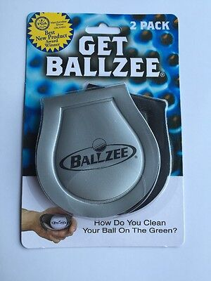 2 Pack NEW GOLF BALL CLEANER BALLZEE KEEP IN YOUR POCKET GOLF ACCESSORY