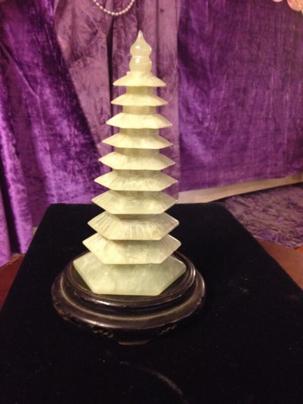 "Antique/Vintage Auspicious Carved Jade Pagoda/Stupa-9 Tiers ""Wen Chang"" Tower!"