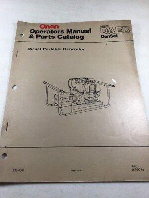 Onan Daeb Series Diesel Portable Generator Operators Manual Parts Catalog