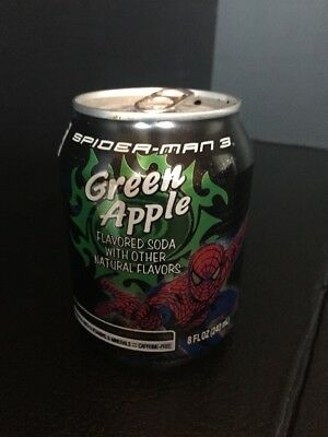H1) Jones Soda Can Spider-Man 3 Green Apple 8oz Can Empty RARE