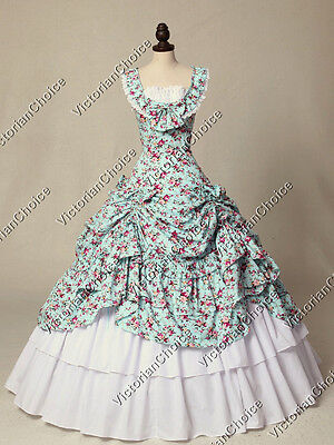 Victorian Belle Scarlett O'Hara Fairytale Gown Dress Reenactment Clothing 081