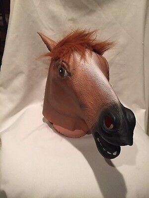 H4) Creepy Horse Head Latex Mask Face Rubber Mask for HaLLoWeeN (Creepy Faces For Halloween)