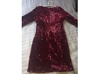 Plum/ Red sequin dress size 14