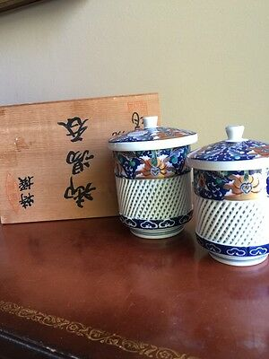 Fabulous Arita Signed Covered Tea Cup Set With Box Latticework- Hand painted