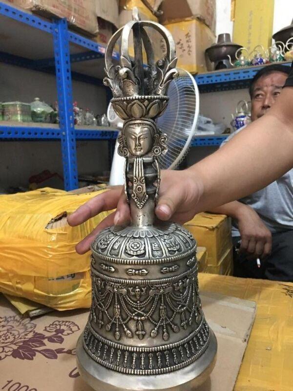 Tibet Buddhist Supplies Silver Brass Bronze Buddha Bell Alarm bell Ghanta