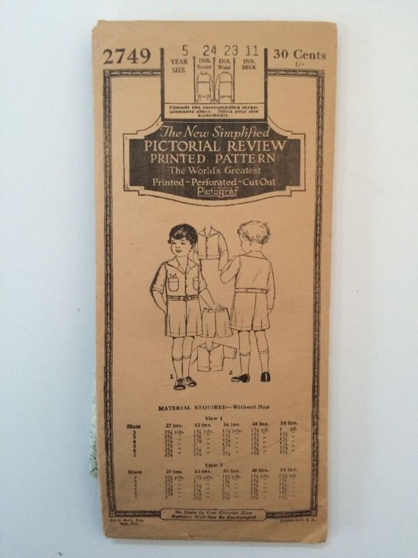 Pictorial Review 1920s Boy