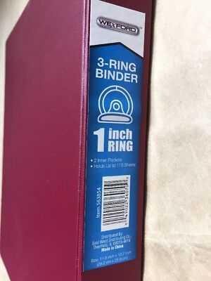 New Wexword 3 Ring - 1 Inch Binder In Burgundy Bordeaux Color
