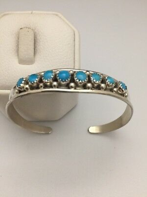 Native American Sterling Silver Navajo Handmade Turquoise Cuff Bracelet
