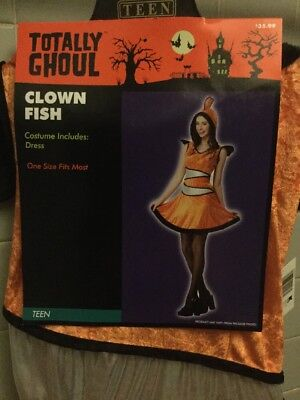 Totally Ghoul Clown Fish Costume Nemo Juniors Teen One Size Fits Most NWT (Teen Clown Costumes)