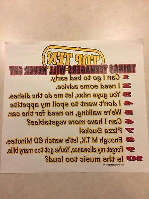 Vintage T-shirt Heat Transfer Top Ten Things Teenagers Will Never Say 97 Xit