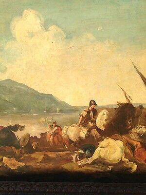 Eindrucksvolles großes antikes Gemälde Schlachtengemälde Kriegsgemälde Schlacht