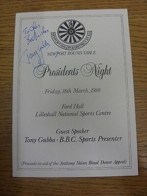 18/03/1988 Newport Round Table: Presidents Night At Lilleshall National Sports C