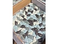 Glass pebble/Teardrop Wall Tiles in Shades of Blue & Grey