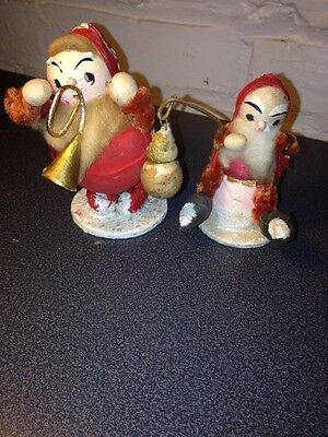VINTAGE SANTA CLAUS SET SPUN COTTON PIPE CLEANER PEOPLE MICA BASE CHRISTMAS