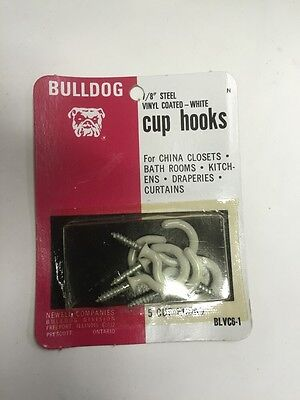 "12 Packs Bulldog Cup Hooks 7/8"" steel vinyl coated white each pack has 5 hooks"