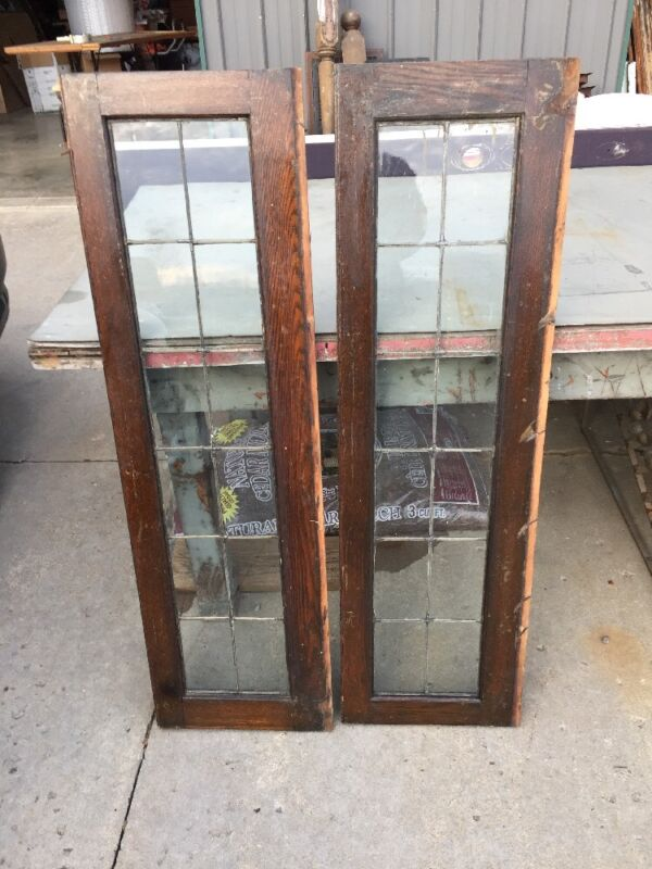 Sg 1202 Matched Pair Antique Oak Leaded Glass Cabinet Doors Or Windows