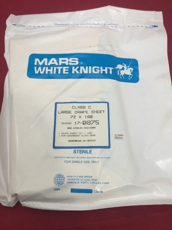 New Lot Of 10 Mars White Knight Class C Large Drape Sheet 72x100 17-0875