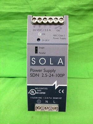 Sola Sdn 2.5-24-100p Power Supply 115230 Vac 1.3-0.7 Amp 5060 Hz 24vdc 2.5 Amp