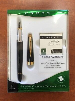 Cross Aventura Fountain Black Pen, M Nib, Plus 6 Free Black Ink Cartridges