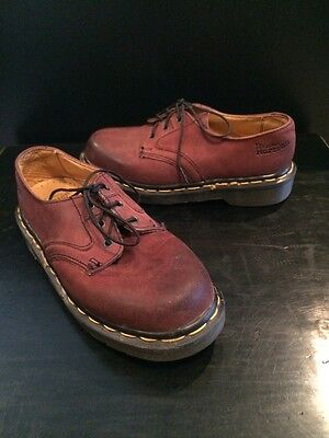 Dr. Martens Doc England Distressed Red Brown Kids Youth Leather Sz UK 2 / US 3  - Kids Red Dr Martens