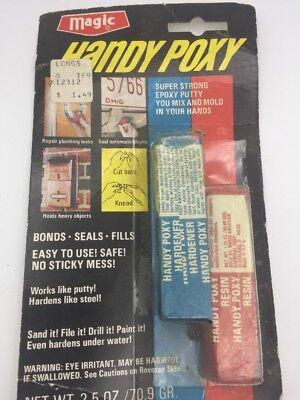 Vintage Handy Poxy Epoxy Bonds Seals Fills Metal Plastic Glass Ceramic Glue