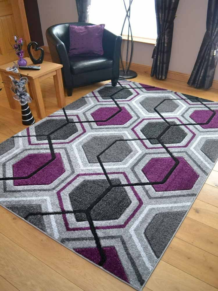 Quality Silver Grey Purple Floor Mat