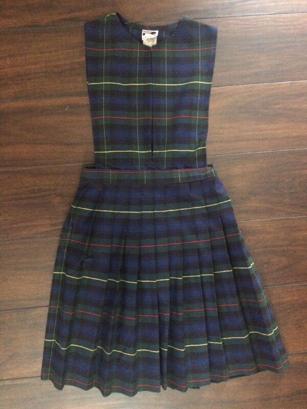 Sz 12 SCHOOL UNIFORM JUMPER Plaid 55 split neck knife pleat Rifle 172 Navy Blue
