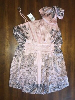 Women's Maternity Pink Top Blouse Size Medium One Shoulder Spring Dress Silky