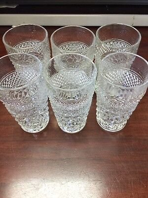 "6 Vintage Anchor Hocking Wexford Tea Glasses 5 1/2"" Tall"