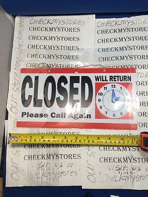 Open Closed Chain Hanging Sign With Adjustable Clock Will Return Door Window