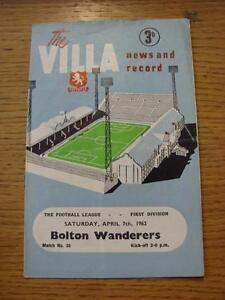 07-04-1962-Aston-Villa-v-Bolton-Wanderers-Crease-Fold-Worn-Item-In-very-go