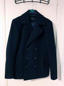 Men's Jacket - Peacoat - River Island - Small/Medium - Dark Navy Blue