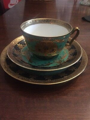 Rare Vintage Noritake Fine China Cabinet Cup & Saucer Trio