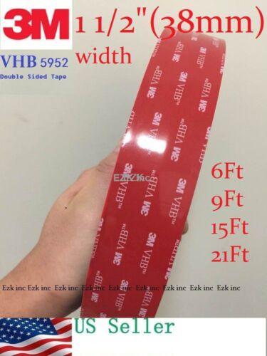 "3m Vhb #5952 Dual Sides Acrylic Foam Tape Automotive 1.5"" X 6/9/15/21/36/108 Ft"