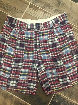 Jos A. Bank Patchwork plaid Madras Shorts Sz 36 patchwork Men's Red white blue](Plaid Madras Shorts)