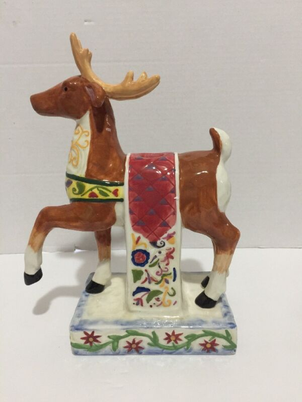 Jim Shore Holiday Traditions Christmas Reindeer Candle Holder Decoration